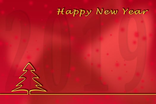 Illustration. New 2019 greetings template on a red background with a Golden outline of a Christmas tree