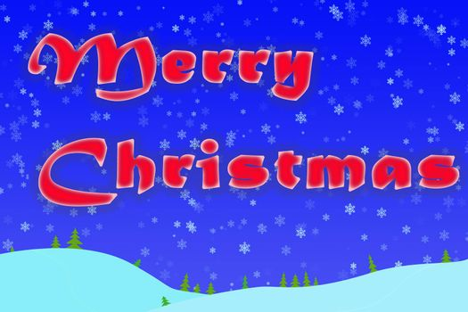 Winter Christmas greeting with snowflakes, blue background