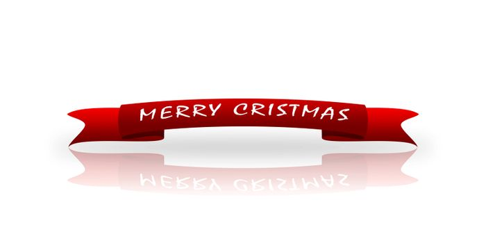 On a red greeting tape written in white font Happy Christmas, white background, reflection,