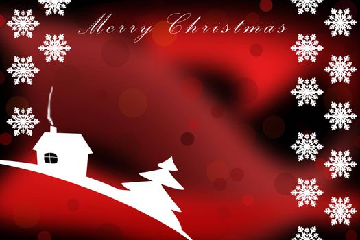 Illustration. Christmas greetings template on red background