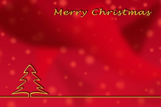 Illustration. Christmas greetings template on a red background with a Golden outline of a Christmas tree