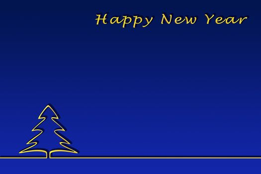 Template for congratulations on the New Year. Gold lettering of a happy Christmas and contour of a Christmas tree, blue gradient background