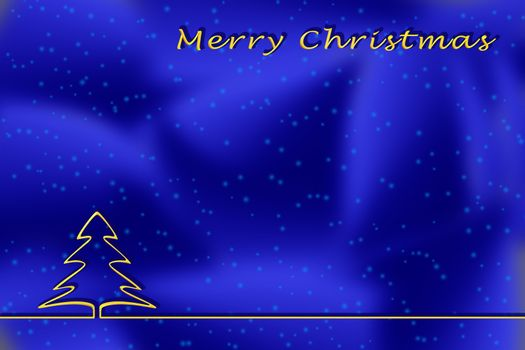 Illustration. Christmas greetings template on a blue background with a Golden outline of a Christmas tree