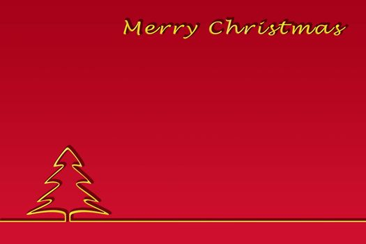 Template for congratulations on the New Year. Gold lettering of a happy Christmas and contour of a Christmas tree, red gradient background