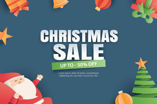Christmas sale with gifts and elements on blue background banner