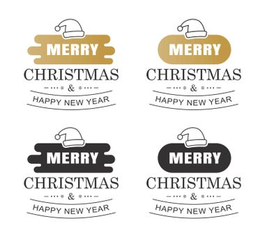 Merry christmas and happy new year typography label with symbols