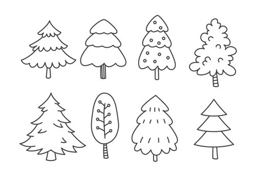Set of christmas tree in doodles and sketches style.