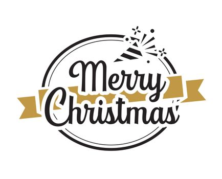Merry christmas typography label with symbols design set. Use fo