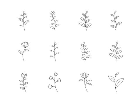 Floral and flower icon set outline style. Symbols for website, p