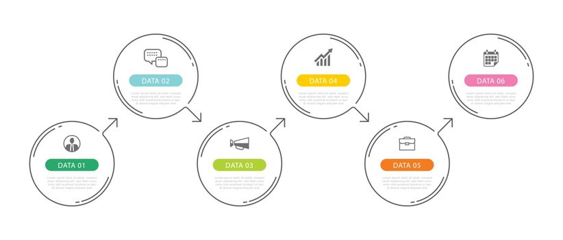 6 circle data timeline infographics template with thin line desi