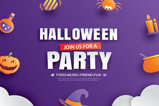 Halloween party invitation with paper art element design for gre