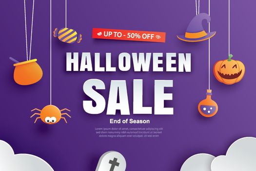 Halloween sale promotion template with paper art element design