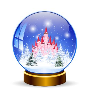 Snow ball. Princess castle on the background of a winter snowy forest. Winter landscape. Glass ball on a stand. Souvenir.
