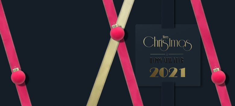 Winter holiday background. New Year 2021, Christmas banner. Gold digit 2021, Xmas red bauble, pink ribbon, 3D text Merry Christmas Happy New Year on blue background. 3D render. Horizontal festive card