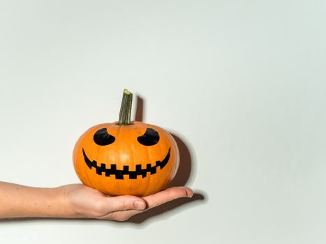 Halloween pumpkin in hand on white wall background. Halloween concept with copy space for text or design. Hard light. Jack-o-lantern laughing face on orange squash