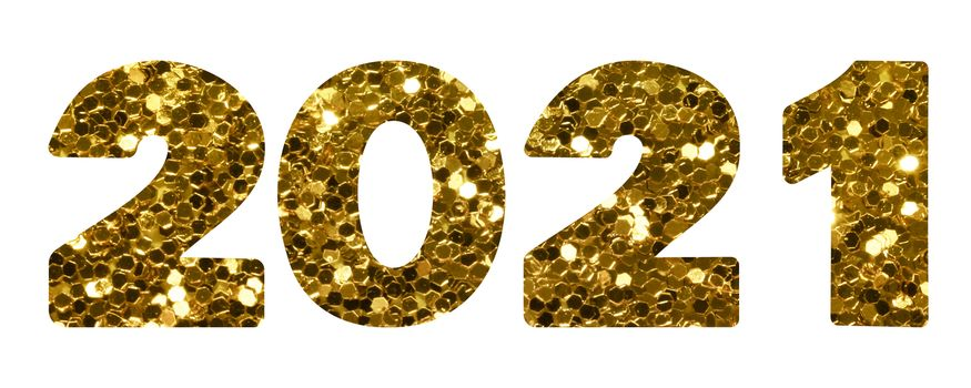 2021 gold sequin texture design template Celebration typography poster, banner or greeting card.