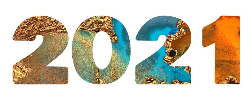 2021 orange, gold and teal shimmer texture design template Celebration typography poster, banner or greeting card. llustration isolated on white background.