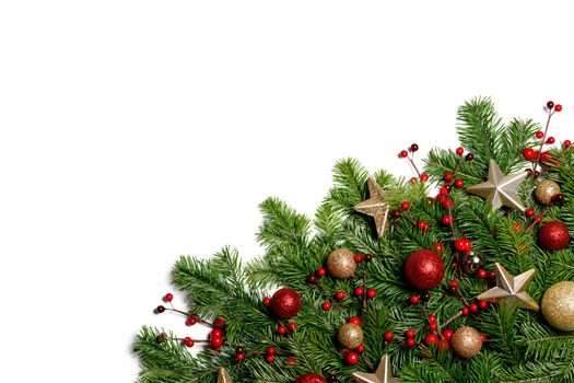 Christmas New year decoration frame isolated on white , fir tree branches , red and golden baubles , pine cones , stars , copy space for text