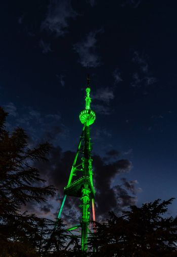 Tv Tower of Tbilisi, capital city of Georgia, one of the symbol of the city, colored in green in the night