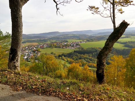 panoramic view in autumn of the hill Rechberg to the Swabian Alb in Germany