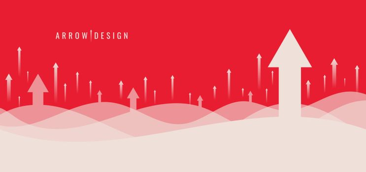 Banner web template design business growth with rising arrows background. Vector illustration