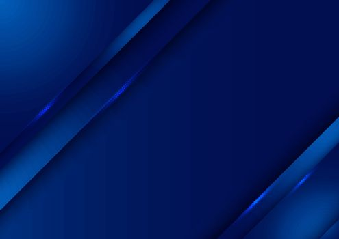 Template design abstract dark blue gradient stripes overlap layer background with lighting. Vector illustration