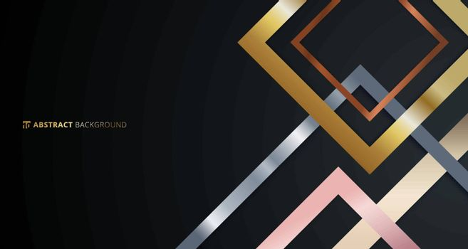 Abstract geometric square border pattern golden, silver, pink gold metallic overlapping on black background. Luxury style. Vector illustration