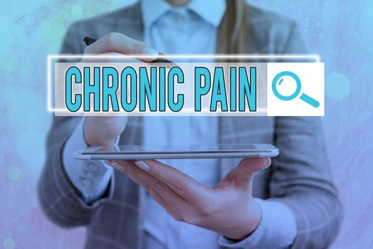 Text sign showing Chronic Pain. Conceptual photo discomfort that persists or progresses over a long period Web search digital information futuristic technology network connection.