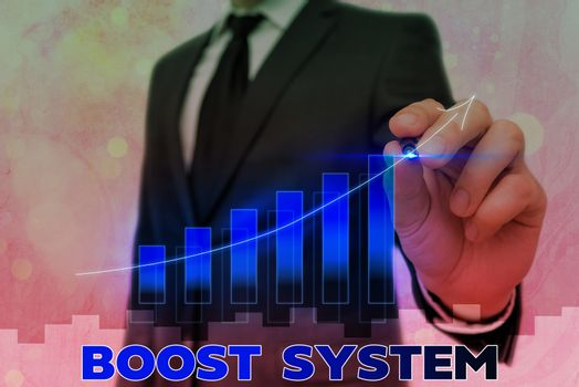 Conceptual hand writing showing Boost System. Business photo text Rejuvenate Upgrade Strengthen Be Healthier Holistic approach Arrow symbol going upward showing significant achievement.