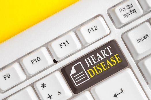 Word writing text Heart Disease. Business concept for A type of disease that affects the heart or blood vessels Different colored keyboard key with accessories arranged on empty copy space.