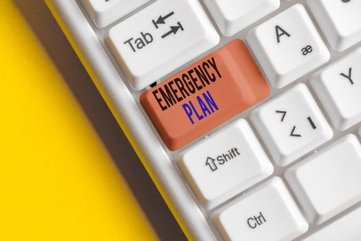 Text sign showing Emergency Plan. Conceptual photo actions to be conducted in a certain order or manner Different colored keyboard key with accessories arranged on empty copy space.