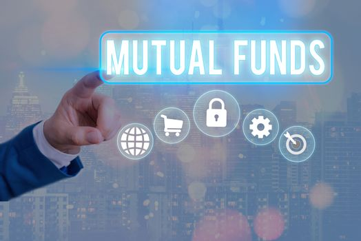 Conceptual hand writing showing Mutual Funds. Business photo text An investment program funded by shareholders Individual Stocks Information digital technology network infographic elements.