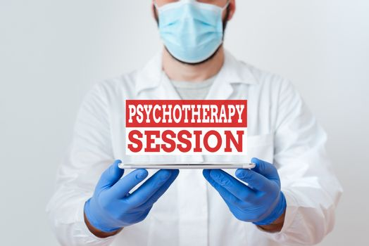 Text sign showing Psychotherapy Session. Conceptual photo series of meetings in treating mental health problems Laboratory Technician Featuring Empty Sticker Paper Accessories Smartphone.