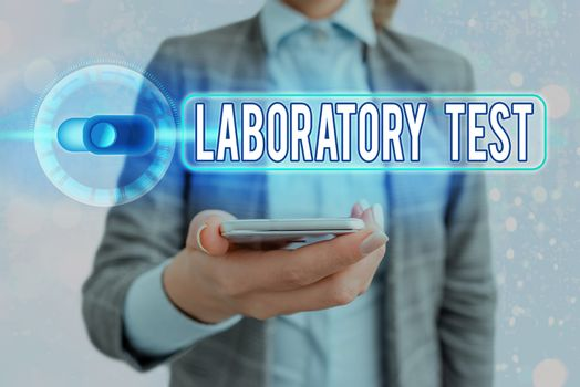 Text sign showing Laboratory Test. Conceptual photo Determination of a medical diagnosis from the substances tested Graphics padlock for web data information security application system.