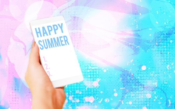 Word writing text Happy Summer. Business concept for Beaches Sunshine Relaxation Warm Sunny Season Solstice Modern gadgets with white display screen under colorful bokeh background.