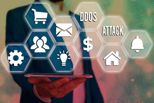 Word writing text Ddos Attack. Business concept for perpetrator seeks to make network resource unavailable Grids and different set up of the icons latest digital technology concept.
