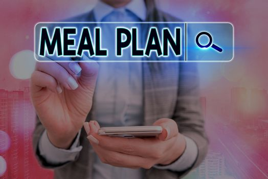 Writing note showing Meal Plan. Business photo showcasing act of taking time to plan any number of meals for the week Web search digital information futuristic technology network connection.