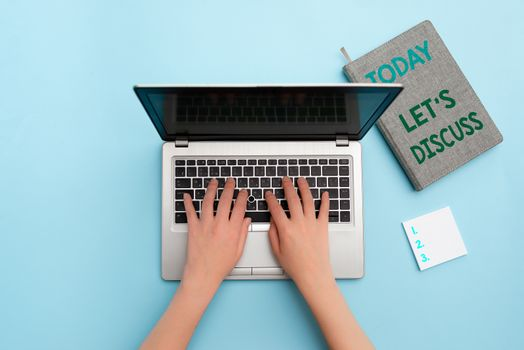 Word writing text Let S Discuss. Business concept for Permit to Talk Open Up Go Over a Topic Chat Sharing Personal workplace overview with laptop device used for individual interest.