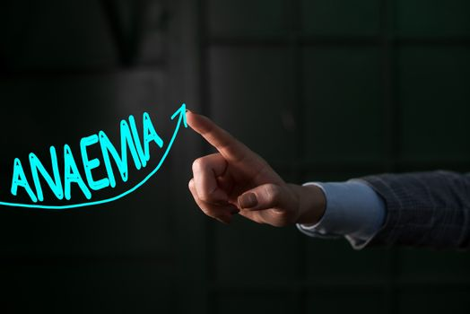 Conceptual hand writing showing Anaemia. Business photo showcasing a condition marked by a deficiency of hemoglobin in the blood Digital arrowhead curve denoting growth development concept.