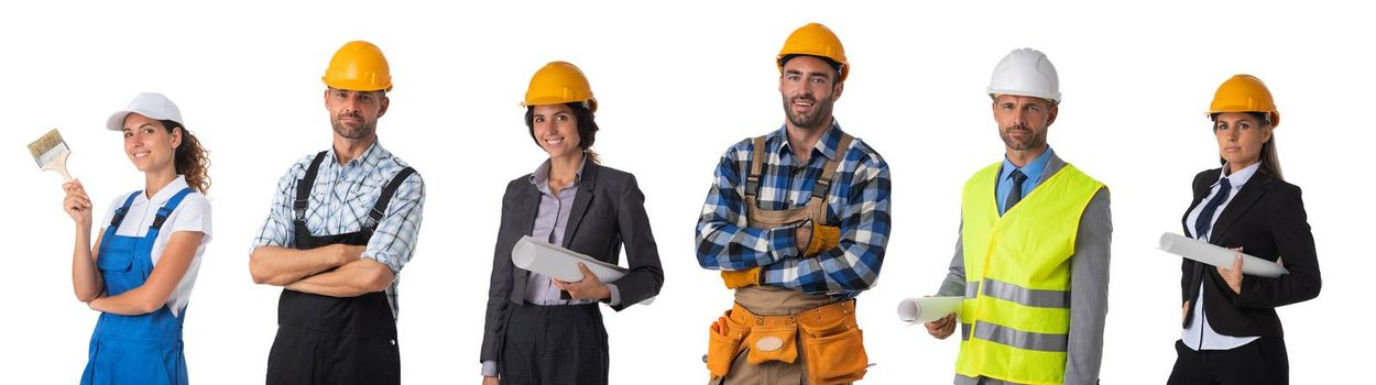 Collection of portraits of construction industry workers. Design element, studio isolated on white background