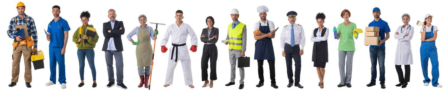 Full length portrait of group of people representing diverse professions of business, medicine, construction industry