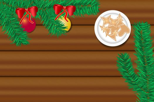 Top view of the wooden desk with twig of Christmas tree with Christmas balls and Christmas sweets on the plate. Free place for your text is in the centre of the vector.