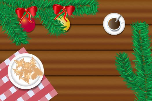 Top view of the wooden desk with twig of Christmas tree, Christmas sweets and cup of coffee. Free place for your text is in the center of the vector.