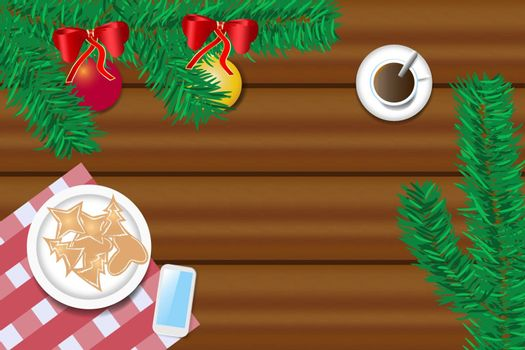 Top view of the wooden desk with twig of Christmas tree, Christmas sweets, cup of coffee and smart phone. Free place for your text is in the center of the vector. All potential trademarks are removed.