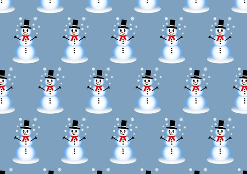 Winter pattern with smiling snowman playing with snowflakes on the trendy light blue background.