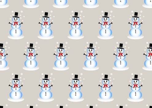 Winter pattern with smiling snowman playing with snowflakes on the trendy light background.