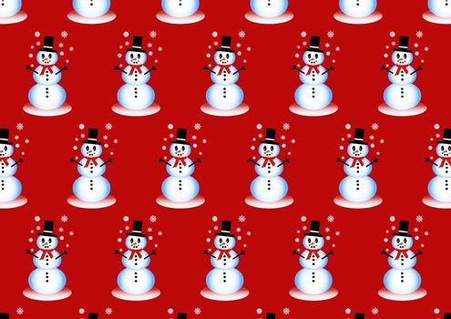 Winter pattern with smiling snowman playing with snowflakes on the red background.
