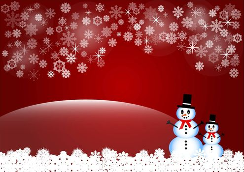 Two smiling snowmen are standing in white snow flakes. The background is in red gradient with transparent snowflakes, stars and light in the middle of the top edge of the vector.