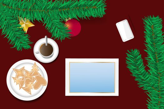 Top view of the table with ornate branch of Christmas tree, Christmas sweets on the plate and  cup of coffee. Tablet with blank screen is ready for your text.