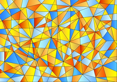Abstract geometric pattern is composed of triangles of different sizes in orange,  yellow and blue gradients.